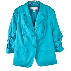Doncaster blue button ruched 3/4 sleeve blazer